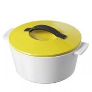 Кастрюля для запекания с крышкой, керамика, 1.5л, D=19,H=12.5см, белый,желт.