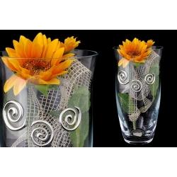 Декоративная ваза 23 см с искусственными цветами (оранжевыми).Стекло и хрусталь