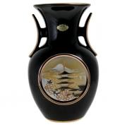Ваза черная с ручками 25 см Пагода в сакуре