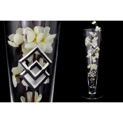 Ваза декоративная 40 см с искусственными цветами (белыми).Стекло и хрусталь