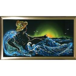 Морская симфония, 80х40 см,2934 кристаллов
