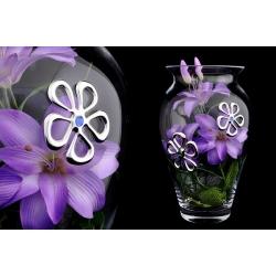 Ваза декоративная 33 см с искусственными цветами (фиолетовыми).Стекло и хрусталь