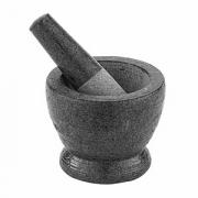Мадлер со ступкой, мрамор, 410мл, D=11,H=12см, серый