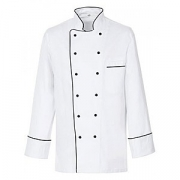 Куртка поварская с окант.54р.б/пуклей, полиэстер,хлопок, белый,черный