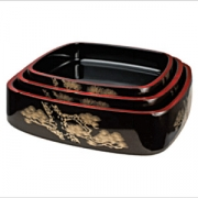 Блюдо-барабан для суши пластик; H=5,L=23,B=23см; коричнев.,золотой