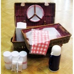 Набор для пикника с подносом красный в клетку