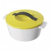 Кастрюля для запекания с крышкой, керамика, 800мл, D=16.4,H=10.7см, белый,желт.