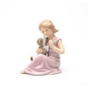 Статуэтка 9,2 см Девочка с собачкой в розовом платье