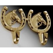 Вешалка «лошадь с подковой» цвет - золото 19х23 см