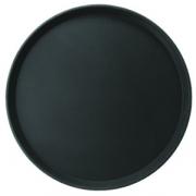 Поднос прорез.черный d=26см