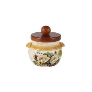 Банка для сыпучих продуктов с деревянной крышкой (чай) Роза и малина