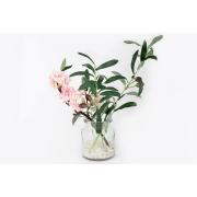 Декоративные цветы Сакура розовая и ветвь оливы в стекл.вазе