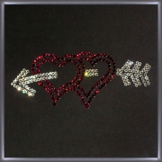 Два сердца, 30х20 см, 259 кристаллов