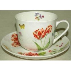 Чашка с блюдцем «Романтические цветы»