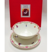 Набор из двух предметов: Тарелка + салатник «Алиса» розовый кант