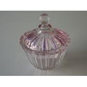 Вазочка с крышкой «Стип Кат» розовая размер: 11*12 см