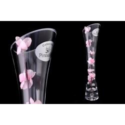 Ваза декоративная 35 см с одним искусственным цветком (розовым). Стекло и хрусталь