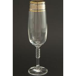Бокал для шампанского 180 мл Карина производство Кветна декор панто+комбинация платины и золота