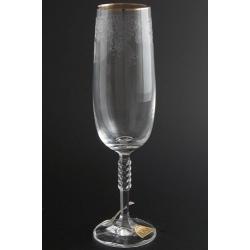 Бокал для шампанского 180 мл Карина декор панто+ золотая кайма