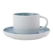 Чашка с блюдцем Оттенки (голубая) без инд.упаковки