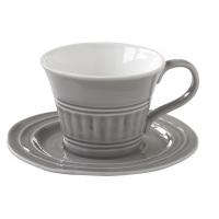 Чашка с блюдцем (тём.серый) Abitare, большая, без инд.упаковки