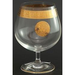Рюмка для бренди 400 мл «Гала» декор диарит Версаче золото + золотая кайма на ножке и по краю рюмки
