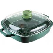 Сковорода-гриль с крышкой L=26, B=26см; зелен.