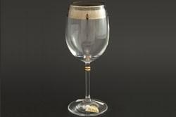 Рюмка для вина 250 мл «Глория» панто + платина по декору +золотая кайма над декором и декорация золотом деталей на ножке