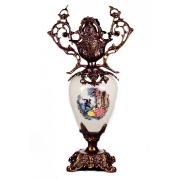 Декоративная ваза чёрная бронза c двумя ручками h-42