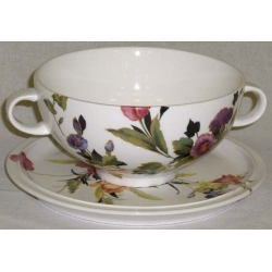 Суповая чашка на блюдце «Букет цветов» Объем 0,5 л