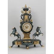 Часы с парой лошадей синий 54х44 см.