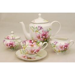 Чайный сервиз из 15 предметов на 6 персон «Розовые лилии»
