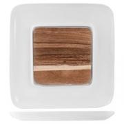 Блюдо для стейка,сыра «Кунстверк», фарфор,дерево, D=33,H=2см, белый,бежев.