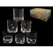 Набор стаканов для виски 6 штук Разная шлифовка