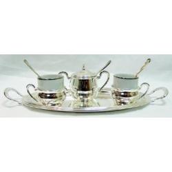 Кофейный набор на 2 персоны «Астра люкс» Посеребренный металл