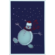 Веселый снеговик.Размер картины:20х30 см.