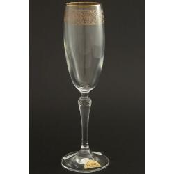 Бокал для шампанского 160 мл «Люция» панто +втертое золото + золотая кайма
