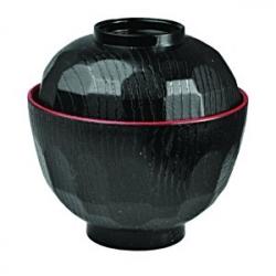 Мисосупница с крыш. пластик; 350мл; D=10.5,H=10.5см; черный,красный