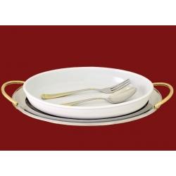 Блюдо овальное с фарфоровой вставкой с ложкой и вилкой 39х26см «Эра»