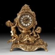 Часы «дети с ракушкой» на мрам. цвет - золото 55х31см