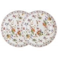Набор из 2-х обеденных тарелок Флора (белая) в подарочной упаковке