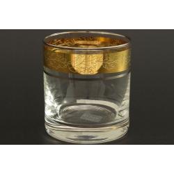 Стакан для виски 280 мл Гольф, выполнен в декоре панто+сочетание золота и платины