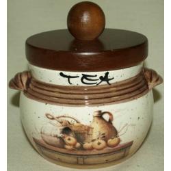 Банка для сыпучих продуктов с деревянной крышкой (чай) «Кухня» 0,5 л