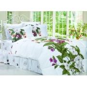 Комплект пос. белье ARYA сатин с одеялом и юб. 200х220 Nina