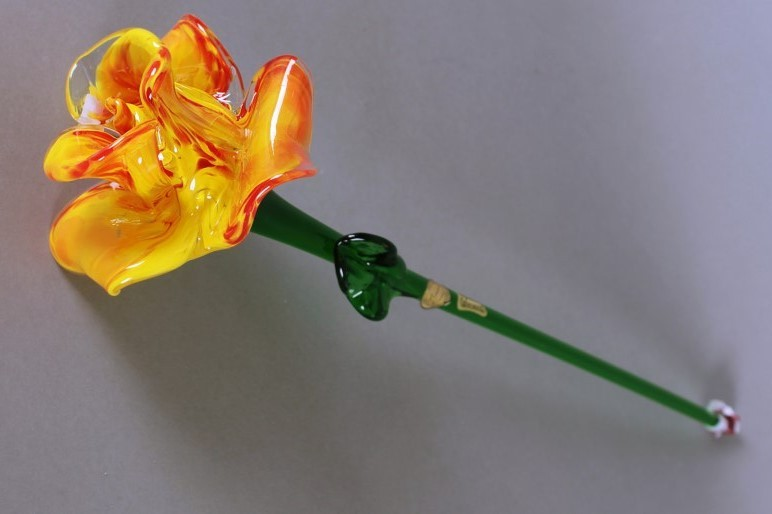 Цветок стеклянный оранж.+ красный (Egermann)