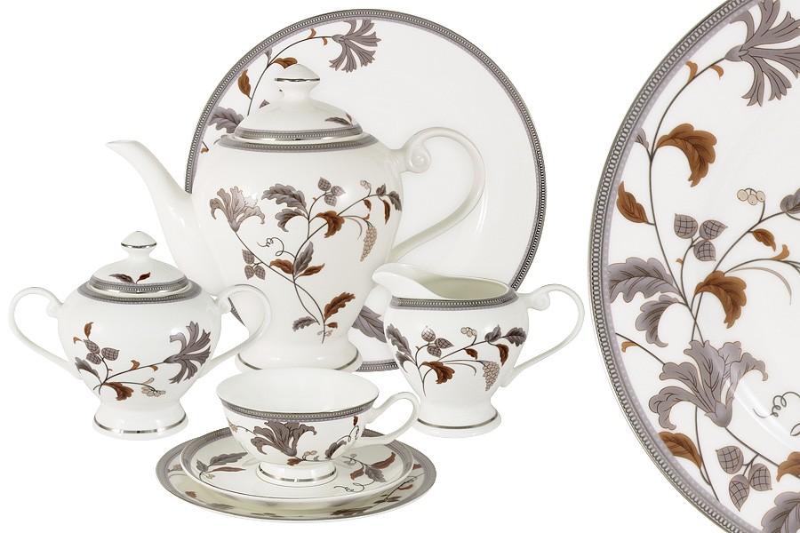 Чайный сервиз Серебряный лист 40 предметов на 12 персон (Emerald)
