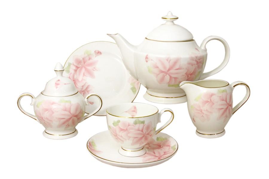 Чайный сервиз Розовые цветы 21 предмет на 6 персон (Emerald)