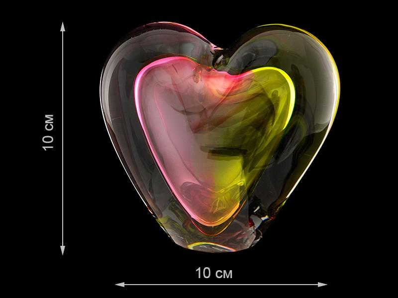 Скульптура для интерьера сердце красно-желтое среднее 10х10см (Remisglass)
