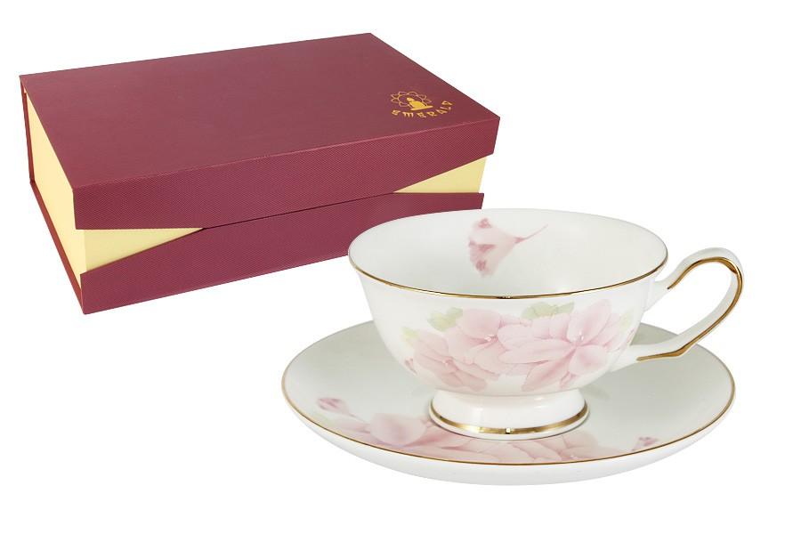 Набор 12 предметов: 6 чашек + 6 блюдец Розовые цветы (Emerald)