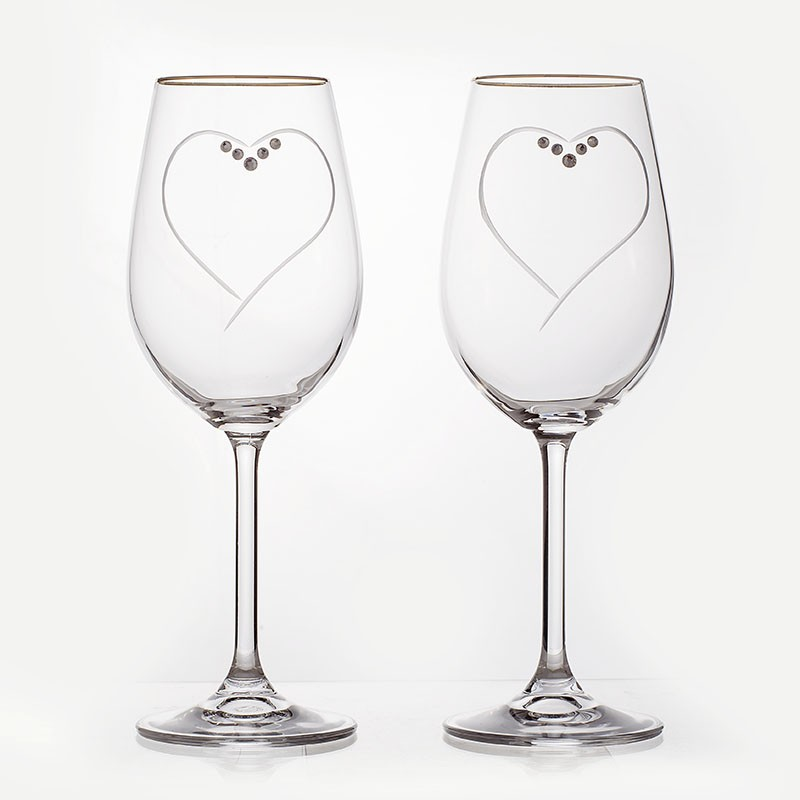 Набор бокалов 350 мл. 2 шт «Сердце» (Crystalite Bohemia S.R.O)